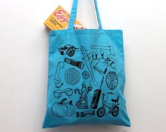 Stranger Things Blue Tote Bag, eleven, the upside down, shoulder bag, shopper, eggos, demogorgon