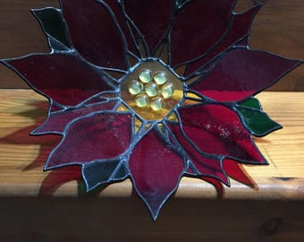 Red and Green Stained Glass Lead Decorative Poinsettia Bowl 11 Inch Diameter