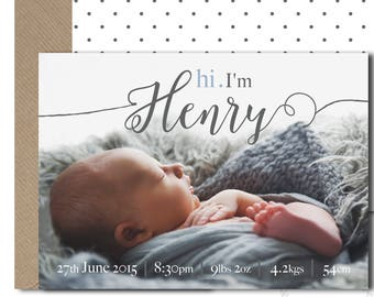 Baby Announcement Photo Card / Customised Birth Details / Hi I'm Name Personalised Birth Stats Thank You Card Printable Customisable PDF JPG