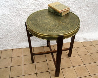 Attractive Moroccan Tray Table, Occasional Table, Moroccan Brass Table, Brass Tray  Table With Wooden