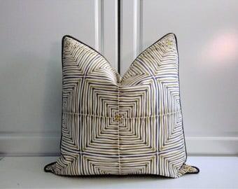 Kravet Decorative Pillow Cover-Jonathan Adler-Geometric-Yellow Gourd & Gun Metal Gray-18x18,20x20,22x22,24x24