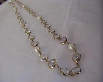 Vintage Swarovski Rivoli Crystal Bezel & Faux Pearl Necklace