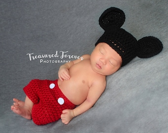 Crochet Mickey Mouse Newborn Outfit Photography Prop