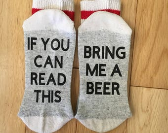 If you can read this bring me a beer socks, funny socks, bring me socks, adult socks, christmas gift, stocking stuffer