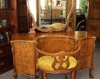 French Provincial Louis XV Vanity & Stool, Burl Acacia Wood