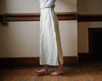 vintage spring green linen skirt