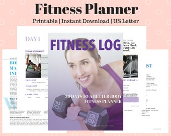 Fitness Planner, Monthly workout log, How to lose weight, How to workout, Fitness log, 30-day fitness planner, How to diet