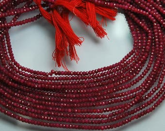 13 Inches Strand, Super Finest Natural Ruby Faceted Rondelles, Size 3mm
