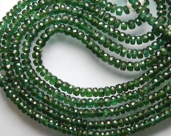 14 Inches Strand, Natural Deep Chrome Green Apatite Faceted Rondelles, Large Size 5mm