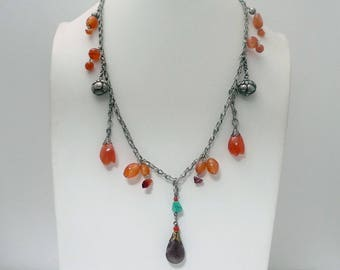 Antique Chinese Silver Amethyst Pendant Necklace // Carnelian Coral and Turquoise Pendant Necklace // Vintage Jewelry