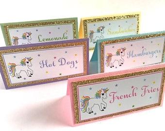 Unicorn Food Labels, Unicorn Birthday, Unicorn party decorations,  Unicorn baby shower, Unicorn Place cards, Unicorn theme party - Set of 12