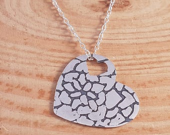 Hand Made Sterling Silver Etched Mandala Heart Necklace, Patterned Heart Pendant, Blackened Silver Necklace, Silver Heart Pendant