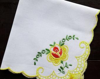 White cotton vintage handkerchiefs with machine embroidery