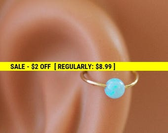 Opal cartilage earring, helix earring, tragus earring, Small Opal cartliage Ring, tiny hoop nose, Extra Small Sterling Silver Opal Nose Ring
