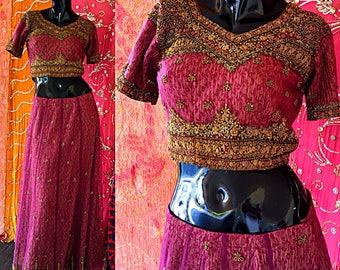 Indian Dress Zardozi Beaded Dress India Sequin Sari Chiffon Hippie Festival Dress