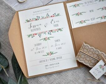 Rustic Beauty Wedding Invitation Set | Floral, Kraft & Lace Pocketfold Invite, Details and RSVP | Sample set