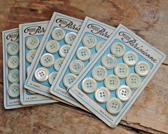 Vintage french set of 12 mother of pearl buttons, 1960's Nacre buttons, Sewing supplies, Paris France, antique buttons