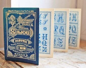 Antique 1890s Original Sajou cross stitch pattern book  Letters (ABC)Antique Sajou original book samplers No 52