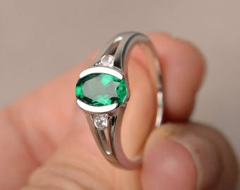 May Birthstone Ring Wedding Ring Oval Cut Lab Emerald Ring Sterling Silver Ring Green Gemstone