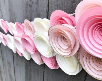 One Pink Ombre Garland - Gold Glitter Garland - Paper Flower Garland - Baby Shower Decor - Girl Nursery - Bridal Shower - Party Streamer