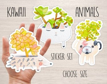 Kawaii animal succulent Vinyl sticker set of 3 watercolor laptop stickers Vinyl Decal bumper planner cactus botanical animal cool stickers