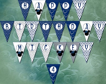 Blue & Silver Boy Mouse Birthday Banner Instant Download Printable Banner