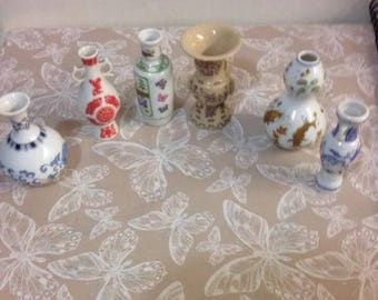 Mini Japanese Vases 6 In The Collection All Vgc. 9 Cm Height Lovely Art Work