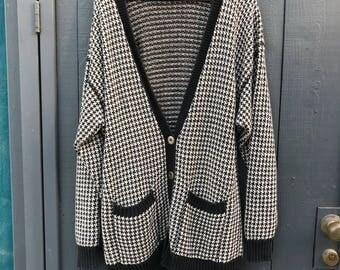 Vintage 80s Liz Wear Checked Oversized Cardigan XL
