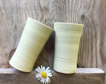 9.5 Ounce - Ceramic Beverage Tumbler - Almond Speckle Glaze - Wheel Thrown Pottery