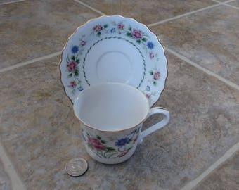 Floral Tea Cup, Andrea by Sadek, Porcelain Tea Cup, Fine China Tea Cup, Vintage Tea Cup, Japan, Tea Cup, Tea Cup Saucer, White Tea cup, Gift