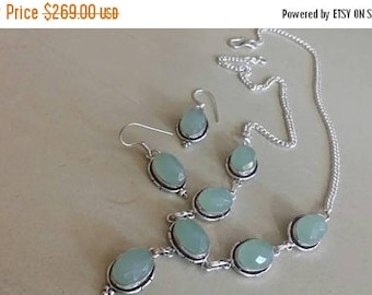 Holiday SALE 85 % OFF Chalcedony   Necklace Earrings  Set .925 Sterling  Silver Gemstone