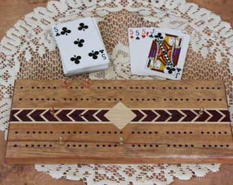 Personalized Cribbage Board, Traditional Track with Herringbone Inlay
