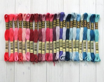 DMC Floss, Colors 3705-3766, 6-Strand Cotton Thread for Embroidery, Cross Stitch and Needle Arts