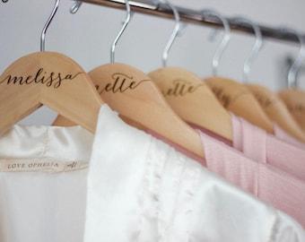 Bride hanger - Bridesmaid hangers Engraved Wooden hanger - Calligraphy engraved wood