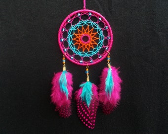 "2.8"" Pink - Blue Dreamcatcher - Car Rear View Mirror Decor - Hippie Boho Bedroom Decor - Car Dream Catcher - Wall Hanging Decoration"