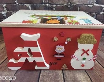 Christmas Eve box. Personalised with name, snowman and reindeer. Every box comes with a letter from Santa and the Elves