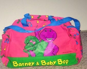 90s kid Barney the dinosaur and Baby Bop duffle bag