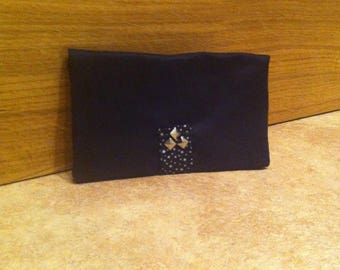 Checkbook wallet in Black Suede