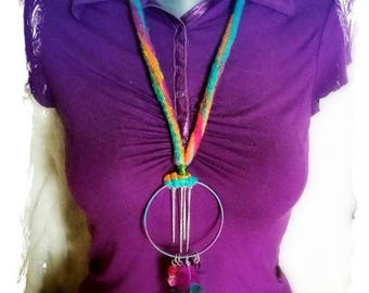 """long necklace felted """"circus"""""""