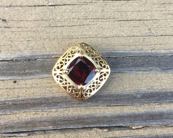 Red Garnet and 10k Yellow Gold Slide Pendant Filigree Design Vintage Pendant