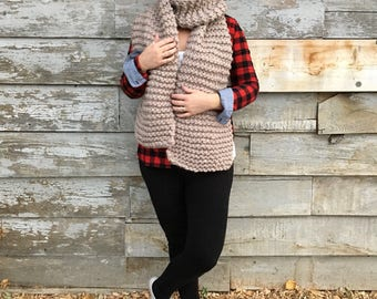 LUXURY LINE Desiree premium wool scarf, bulky wool knit scarf, luxury wool scarf, cozy wool scarf, chunky cozy scarf, thick cozy scarf