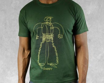 Sheriff t-shirt men's cowboy t shirt green top casual mens wear bottle Green T shirt handprinted Sheriff mens top gift for him mens clothing