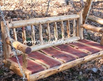 4' Rustic Cedar Log Porch Swing - Rustic Porch Swing - Wood Porch Swing - Poverty Gulch - Rustic Wedding Gift