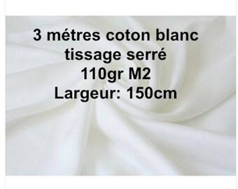 3 m cotton white choice white tight weave 150cm width