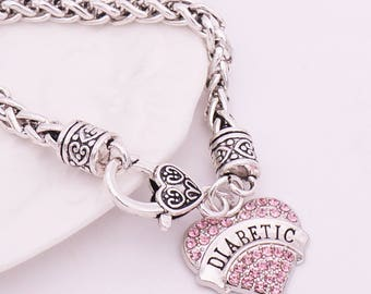 Diabetic Medical Awareness Charm Bracelet. Diabetes Emergency Alert ID Warning Fashion Jewelry. Gorgeous Pink Crystal Silver plated Pendant