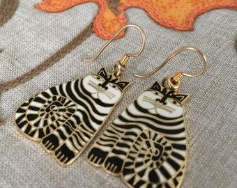 "Laurel Burch Vintage Signed ""SHAMBALA"" Black and White Cat Earrings ~ Dangle"