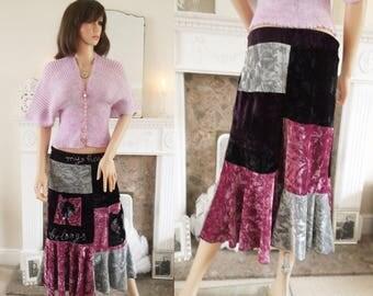 French velvet patchwork skirt Embroidered Boho velvet skirt  Black pink velvet maxi skirt  Boho Party Evening Parisian velvet skirt  A1365