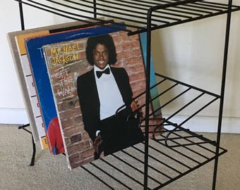 Vintage Wire Record Table Stand Mid Century Modern Atomic Age Bookshelf Shelving