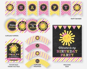 Instant Download, Sunshine Party Package, Sunshine Birthday Package, Sunshine Party Pack, Little Sunshine Printables, Chalkboard (CKB.04)