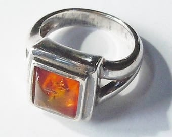Amber and Sterling Ring / Square Simple Design /  Size 6 / Made in Thailand